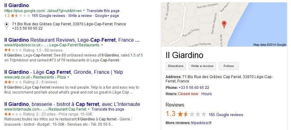 restaurant reviews screen shot